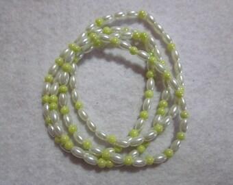 Lime Green & White Bracelet Set