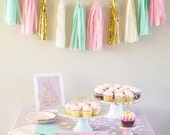 Mint, Pink and Gold Tassel Garland-Mint and Pink Nursery, Pink and Mint Gender Reveal Baby Shower and Pink and Mint Party Decoration