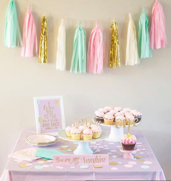 Pink Mint And Gold Nursery: Mint Pink And Gold Tassel Garland-Mint And Pink Nursery Pink