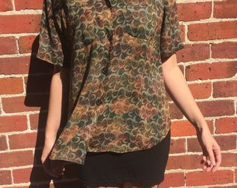 1990s patterned blouse