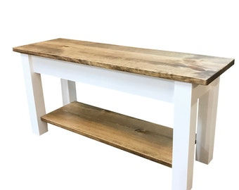 Ambler Farmhouse Storage Bench with shelf /Shoe Rack Bench / Foyer Bench / Mudroom Bench