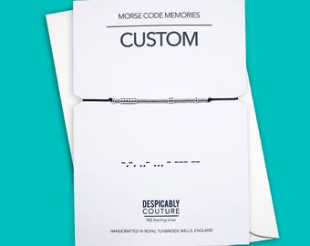 CUSTOM Morse code bracelet, STERLING SILVER - Despicably Couture Collection