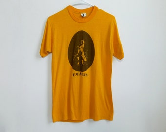 Very Rare 70s/80s Emagin Punk Hippie Original Art T~Shirt~Thin 50/50 Rare 70s Brand Downerwear~Size Adult Medium~ See Dimensions