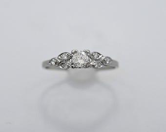 Antique .25ct. Diamond  Engagement Ring Art Deco Platinum - J36360