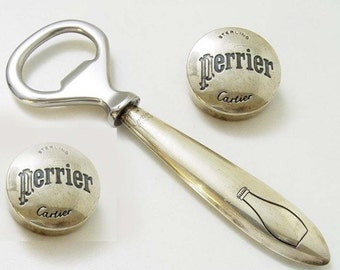 CARTIER for Perrier, perrier in 925 Sterling Silver caps and rare bottle opener