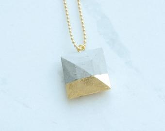 Concrete necklace, geometric necklace, gold necklace, cement necklace