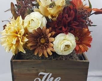 Change Flowers with Seasons! Personalized Wood Planter, Medley Lane Unique Interchangeable Flower Bouquets.