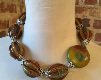 OOAK Green Brown Yellow Chunky Porcelain Statement Necklace with Agate Bead