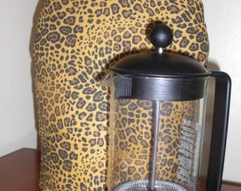 French Press Coffee Cozy Cafetaire Cover Leopard Print