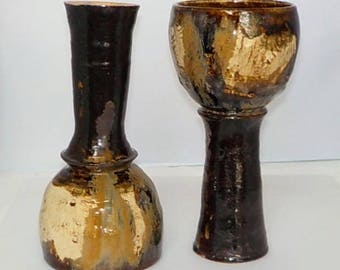 Mocha Diffusion Brown Goblet Pair