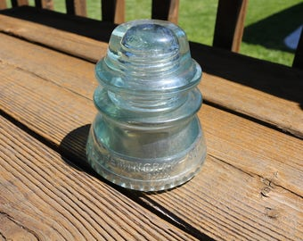 Hemingray 42 large green glass insulator