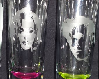 Marilyn and Elvis Etched Shot glass set of 4 (2 Marilyn and 2 Elvis)