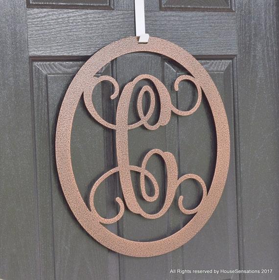 Metal monogram door wreath front door wreath monogrammed for Metal letters for front door