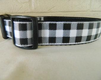 Black and White Buffalo Plaid Dog Collar