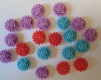 20 resin flatback flower embellisment cabochon