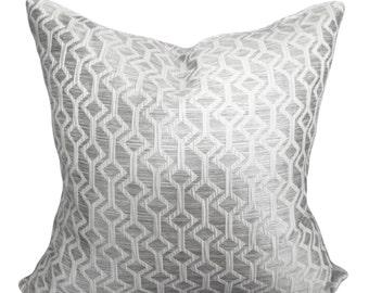 Silver Geometric Diamond Decorative Pillow Cover - Throw Pillow - Both Sides - 10x20, 12x16, 12x20, 14x18, 14x20, 16x16, 18x18, 20x20