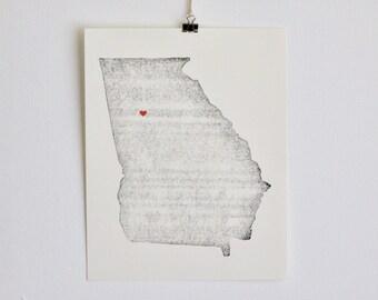 "Georgia State Map Print / 8"" x 10"" / Unframed / Custom / Travel / Art / Chic / Modern / Rustic / Heart / Love / Home / Wedding / Gift"