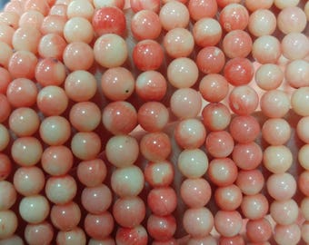 Round pink coral beads, 6 mm  gemstone beads, semiprecious stones, jewelry design, wholesale beads B60