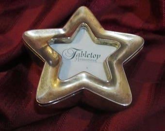 Silver Plated Star Photo Frame Trinket Jewelry Box