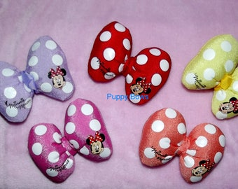 Puppy Bows ~ Puffy polka dots Minnie Mouse dog hair pet clip Red purple Pink Coral ~Usa seller