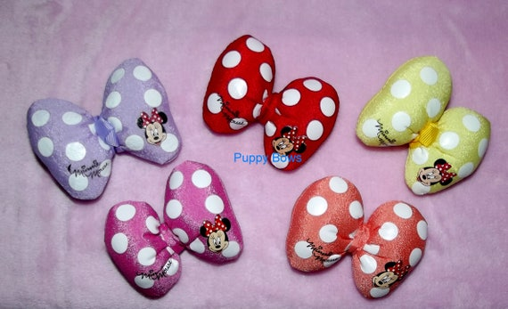 Puppy Bows ~ Puffy polka dots Minnie Mouse dog hair pet clip Red purple Pink Coral ~Usa seller (fb5)