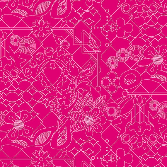OVERGROWN Amaranth Pink Fuchsia SunPrint 2017 A-8482-E  Alison Glass  Sold in 1/2 yd increments