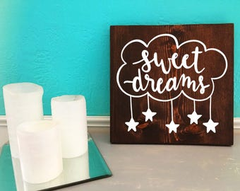 Sweet Dreams | Nursery | Hand Lettered Wooden Sign