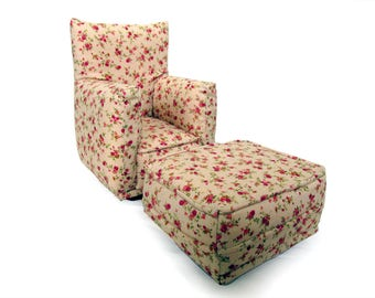 Barbie Doll Living Room Chair & Ottoman-Beige with Rose Bud print -1:6 Scale- works with any Blythe and 11 inch fashion doll