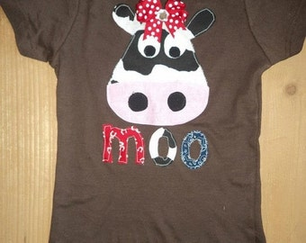 Girly Moo Cow Shirt or Baby Bodysuit