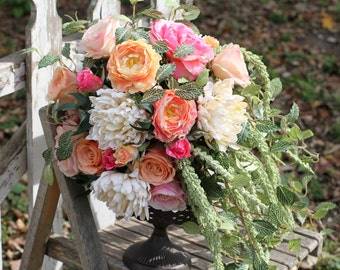 Boho Pink Coral Silk Wedding Bouquet with Greenery