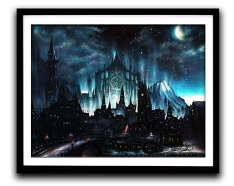 Dark Souls, Art Print, Game painting, Gothic, Moonlight, Wall Art, Home decor, Fine Art print A3