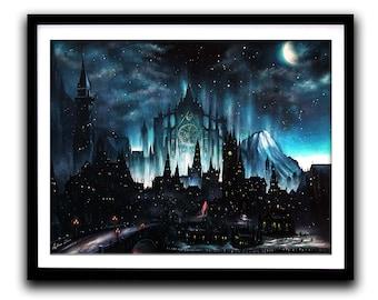 Dark Souls, Art Print, Game painting, Gothic, Moonlight, Wall Art, Home decor, Fine Art print A3
