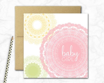 Baby Girl Mini Card {SWEET PASTELS}
