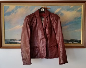 Vintage 1970s Oxblood Leather Blazer