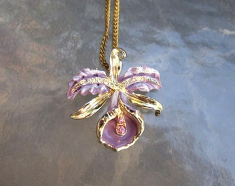 Antique Art Nouveau lavender enamel and rhinestones orchid pendant necklace - estate purple flower costume jewelry