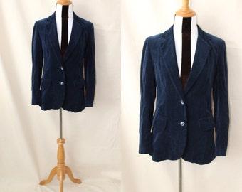 1980s SSA Midnight Blue Velvet Blazer   1980s Navy Velvet Blazer SSA Japan with Front Pockets Size 8   80s Cotton Velvet Blazer