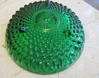Vintage Green Bubble Glass Dish