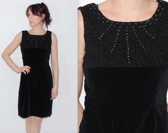Vintage 1990's Black VELVET Floral Lace BEADED Sleeveless Short Party Dress Size 10