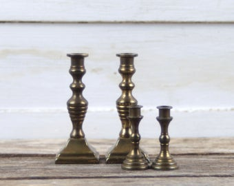 Miniature Brass Candlesticks, 2 x Pairs of Brass Candlesticks. Dolls House Decor. Small Candle Holders. Made in England.