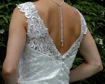 Delicate Bridal Backdrop  Necklace made with Crystals, Pearls  and Diamante
