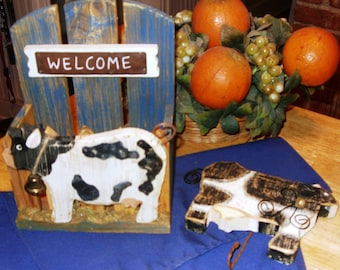 Kitchen Cow, Primitive Cow Wall Art, Farmhouse Décor, Cow Wall Hanging, Welcome Cow Hanging Hook, Kitchen Cow Décor, Farmhouse Kitchen