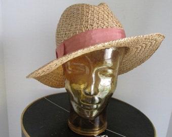 Beach Hat Womens Straw Hat Fedora Hat Panama Straw Hat Dusty Rose Pink Hat Summer Hat Beach Accessories Gardeners Hat Wom