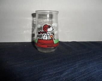"""Vintage Welch's Snoopy Jelly Jar-""""Flying Ace and his mechanic"""""""
