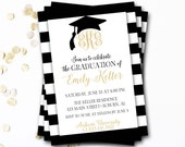 Monogram Graduation Invitation, Black and Gold Graduation Invitation, Class of 2017, Monogram Invitation, DIY Printable