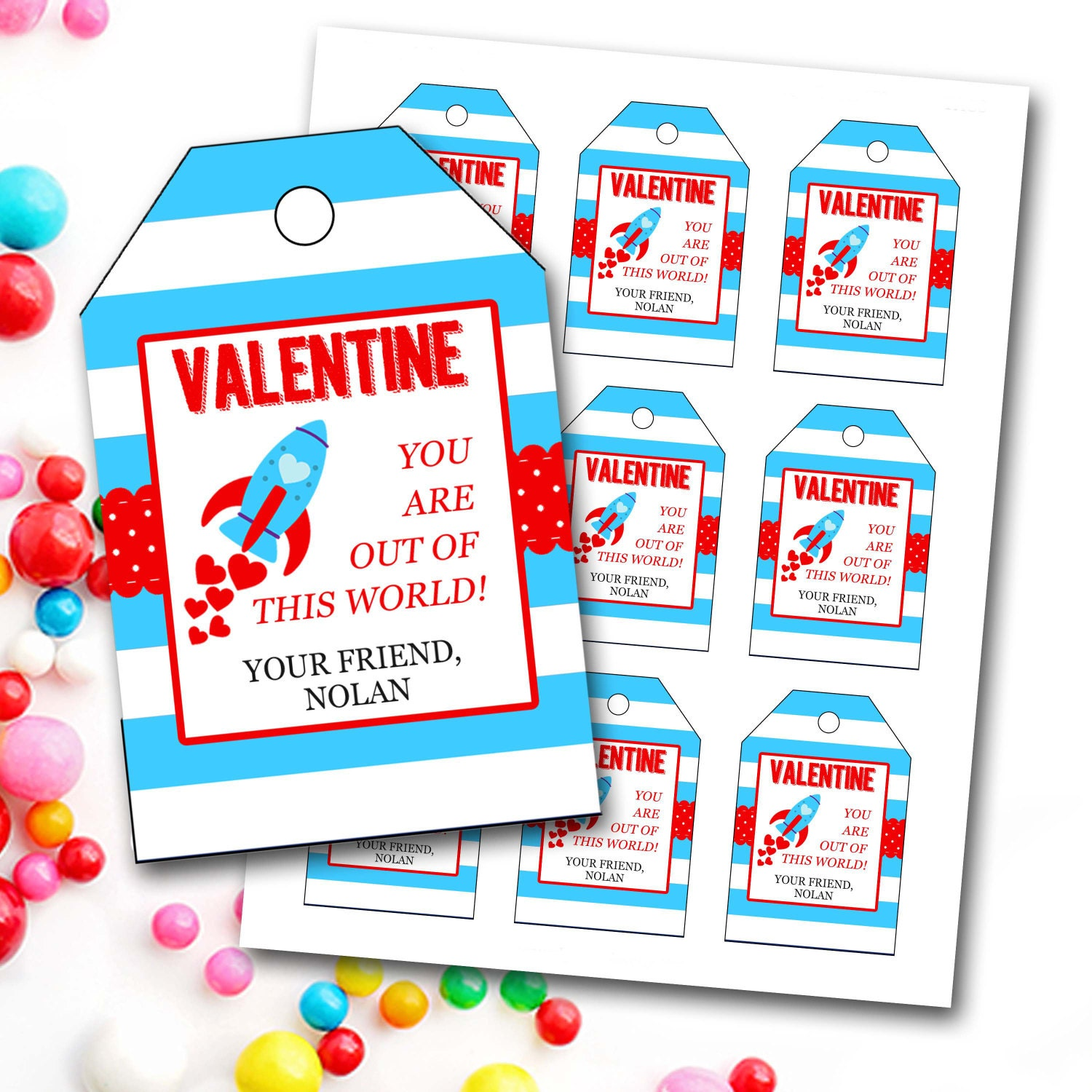 valentines day tag boy valentines day tag rocket valentines tag personalized valentines tag party favor tags diy printable - Boy Valentines