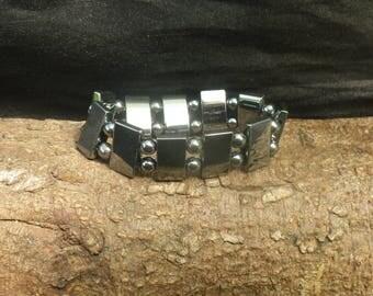 Vintage Black Hematite Bead Bracelet Bangle