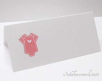 Place card with stamped baby Bodysuit (5 PCs)