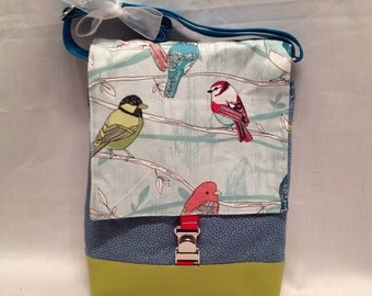 Adult purse: Sweet birds-on-a-branch fabric iPad Bag with zipper front pocket and top closure, inside pocket and an adjustable strap