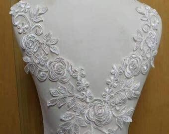1pc Super Luxury Ivory Lace Applique Exquisite Lace Applique For Wedding Dress Grown Bridal Veil Bodice