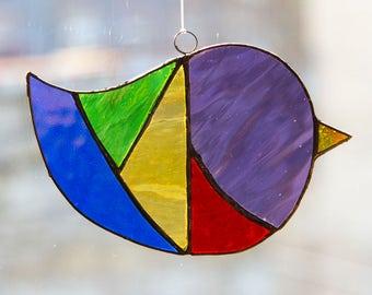 Fat Bird Suncatcher, Tiffany Stained Glass, Window art, Dancing Light, Nordic Birds,